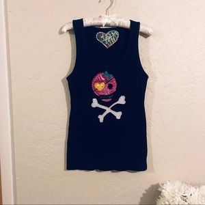 Crafty couture skull and crossbones tank top